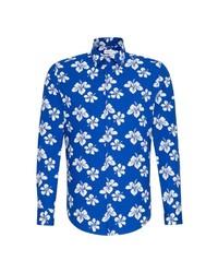 blaues Langarmhemd mit Blumenmuster von Seidensticker