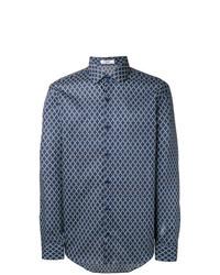 blaues Langarmhemd mit geometrischem Muster von Fashion Clinic Timeless