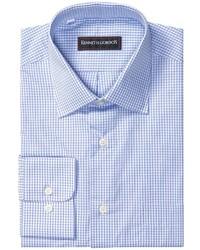 blaues Langarmhemd mit Karomuster