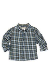 Blaues Langarmhemd mit Karomuster von Bonpoint