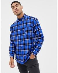 blaues Langarmhemd mit Karomuster von Good For Nothing
