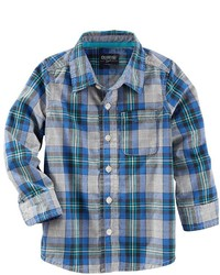 blaues Langarmhemd mit Schottenmuster