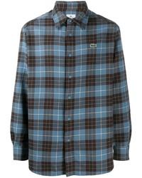 blaues Langarmhemd mit Schottenmuster von Lacoste