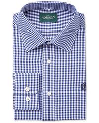 blaues Langarmhemd mit Vichy-Muster