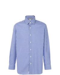 blaues Langarmhemd mit Vichy-Muster von Fashion Clinic Timeless