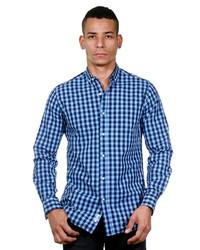 blaues Langarmhemd mit Vichy-Muster von NO 8 STUDIO