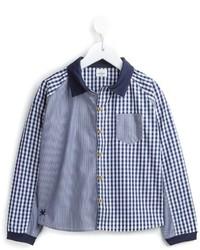 blaues Langarmhemd mit Vichy-Muster von No Added Sugar