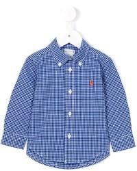blaues Langarmhemd mit Vichy-Muster von Ralph Lauren