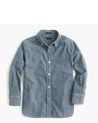 blaues Langarmhemd