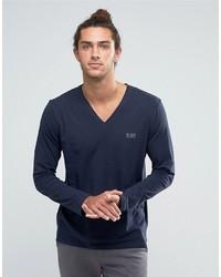 blaues Langarmshirt von Hugo Boss