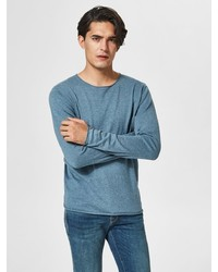 blaues Langarmshirt von Selected Homme