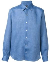 blaues Leinen Langarmhemd