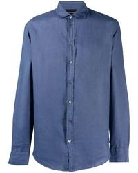 blaues Leinen Langarmhemd von Emporio Armani