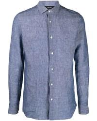 blaues Leinen Langarmhemd von Z Zegna