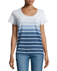 blaues Ombre T-Shirt mit einem Rundhalsausschnitt