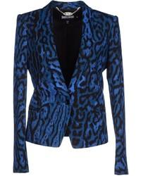 blaues Sakko mit Leopardenmuster