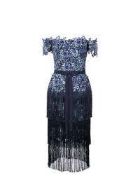 blaues schulterfreies Kleid aus Spitze mit Blumenmuster von Marchesa Notte