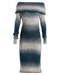 blaues schulterfreies Kleid von Anna Field