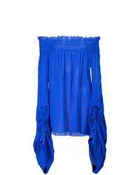 blaues schulterfreies Oberteil aus Seide von Saint Laurent