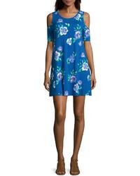 blaues schwingendes Kleid mit Blumenmuster