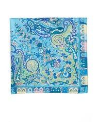 blaues Seide Einstecktuch mit Paisley-Muster