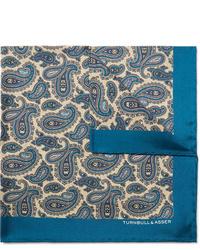blaues Seide Einstecktuch mit Paisley-Muster von Turnbull & Asser
