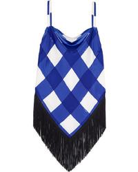blaues Seide Trägershirt mit Karomuster von Balenciaga