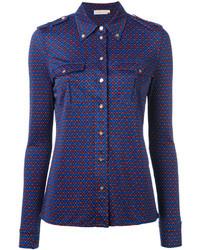 blaues Seidehemd mit Schottenmuster von Tory Burch