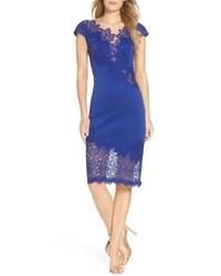 blaues Spitze figurbetontes Kleid