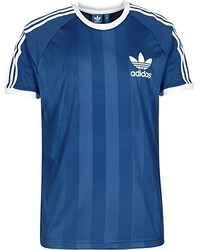 blaues T-Shirt mit einem Rundhalsausschnitt von adidas