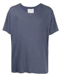 blaues T-Shirt mit einem Rundhalsausschnitt von Greg Lauren