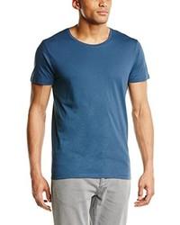 blaues T-Shirt mit einem Rundhalsausschnitt von Selected Homme