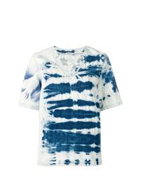 blaues Mit Batikmuster T-Shirt mit einem V-Ausschnitt von Stella McCartney