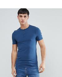 blaues T-shirt mit einer Knopfleiste von ASOS DESIGN