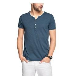 blaues T-shirt mit einer Knopfleiste von Esprit