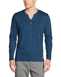 blaues T-shirt mit einer Knopfleiste von Tom Tailor