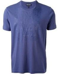 blaues T-Shirt mit Rundhalsausschnitt