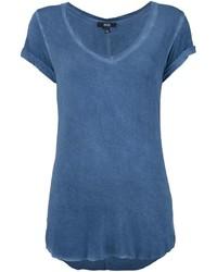 blaues T-Shirt mit einem V-Ausschnitt von Paige