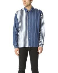 blaues vertikal gestreiftes Chambray Langarmhemd