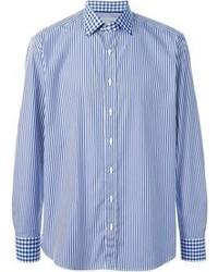 blaues vertikal gestreiftes Langarmhemd