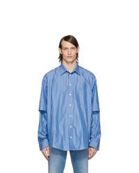blaues vertikal gestreiftes Langarmhemd von Balenciaga
