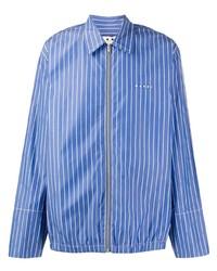 blaues vertikal gestreiftes Langarmhemd von Marni