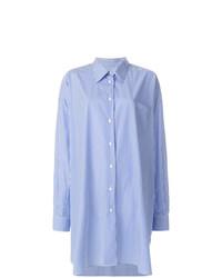 blaues vertikal gestreiftes Shirtkleid von Maison Margiela
