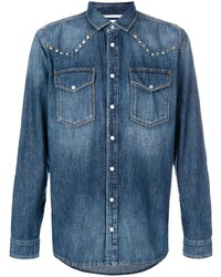 blaues verziertes Jeanshemd von Valentino