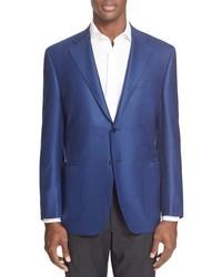 blaues Wollsakko mit Hahnentritt-Muster