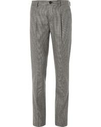 braune Anzughose mit Hahnentritt-Muster