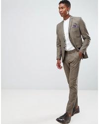 braune Anzughose mit Karomuster von Selected Homme