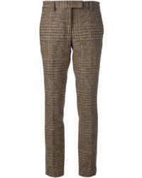 braune Anzughose mit Vichy-Muster