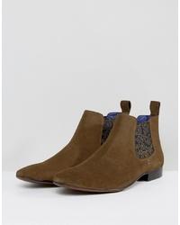 braune bedruckte Chelsea Boots aus Wildleder