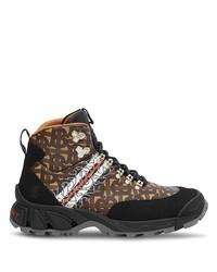 braune bedruckte flache Stiefel mit einer Schnürung aus Leder von Burberry